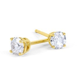 Charmisma 2ct White Sapphire 18K Gold Vermeil Stud Earrings