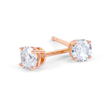 Charmisma 2ct White Sapphire 18K Rose Gold Vermeil Stud Earrings