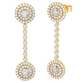 Fusion White Sapphire Halo 18ct Gold Vermeil Stud and Drop Earrings Set