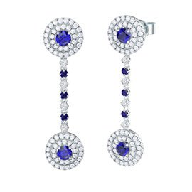 Fusion Sapphire Halo Platinum plated Silver  Stud and Drop Earrings Set