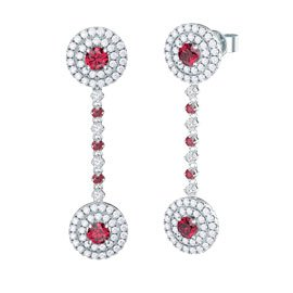 Fusion Ruby Platinum plated Silver Halo Stud Drop Earrings Set