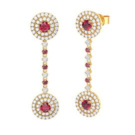 Fusion Ruby 18ct Gold Vermeil Halo Stud Drop Earrings Set