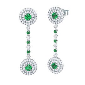 Fusion Emerald Halo Platinum plated Silver Stud and Drop Earrings Set