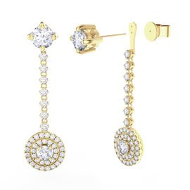 Fusion White Sapphire Halo 18ct Gold Vermeil Stud Drop Earrings Set