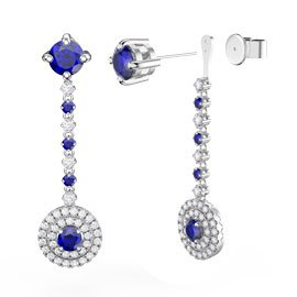 Fusion Sapphire Halo Platinum plated Silver Stud Drop Earrings Set