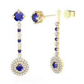 Fusion Sapphire Halo 18ct Gold Vermeil Stud Drop Earrings Set