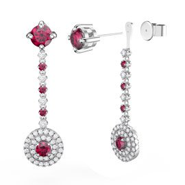 Fusion Ruby Halo Platinum plated Silver Stud Drop Earrings Set