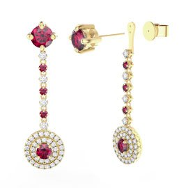 Fusion Ruby Halo 18ct Gold Vermeil Stud Drop Earrings Set