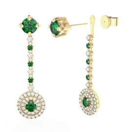 Fusion Emerald Halo 18ct Gold Vermeil Stud Drop Earrings Set
