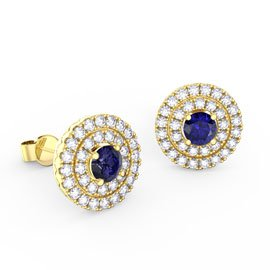 Fusion Sapphire Halo 18ct Gold Vermeil Stud Earrings