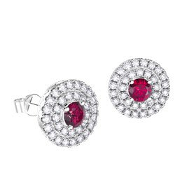 Fusion Ruby Halo Platinum plated Silver Stud Earrings