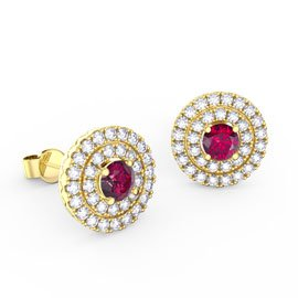 Fusion Ruby Halo 18ct Gold Vermeil Stud Earrings