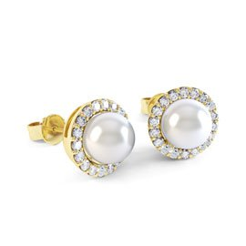 Venus Akoya Pearl and Diamond 18ct Yellow Gold Halo Stud Earrings