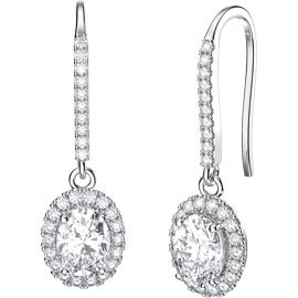 Eternity 1.5ct White Sapphire Oval Halo Platinum plated Silver Pave Drop Earrings