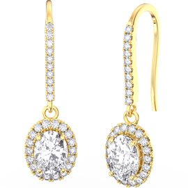 Eternity 1.5ct White Sapphire Oval Halo 18ct Gold Vermeil Pave Drop Earrings
