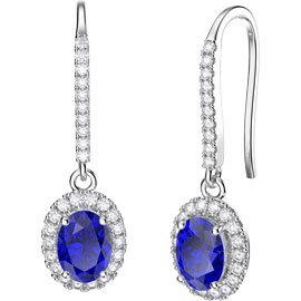 Eternity 1.5ct Sapphire Oval Halo Platinum plated Silver Pave Drop Earrings