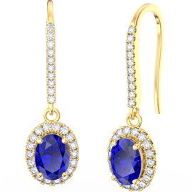 Eternity 1.5ct Sapphire Oval Halo 18ct Gold Vermeil Pave Drop Earrings