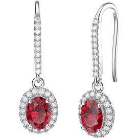 Eternity 1.5ct Ruby Oval Halo Platinum plated Silver Pave Drop Earrings