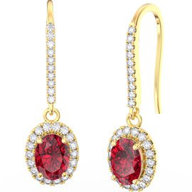 Eternity 1.5ct Ruby Oval Halo 18ct Gold Vermeil Pave Drop Earrings