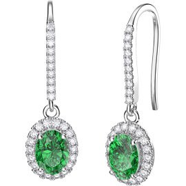 Eternity 1.5ct Emerald Oval Halo Platinum plated Silver Pave Drop Earrings