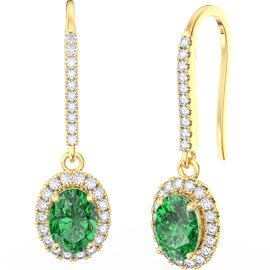 Eternity 1.5ct Emerald Oval Halo 18ct Gold Vermeil Pave Drop Earrings