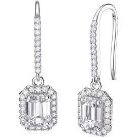 Princess White Sapphire Emerald Cut Halo Platinum plated Silver Pave Drop Earrings