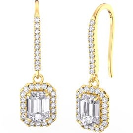 Princess White Sapphire Emerald Cut Halo 18ct Gold Vermeil Pave Drop Earrings
