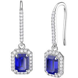 Princess Sapphire Emerald Cut Halo Platinum plated Silver Pave Drop Earrings