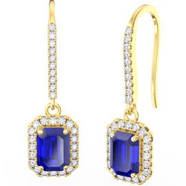 Princess Sapphire Emerald Cut Halo 18ct Gold Vermeil Pave Drop Earrings