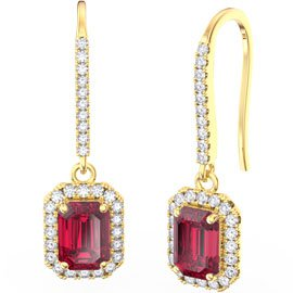 Princess Ruby Emerald Cut Halo 18ct Gold Vermeil Pave Drop Earrings
