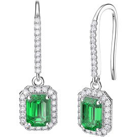 Princess Emerald cut Emerald Halo Platinum plated Silver Pave Drop Earrings