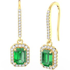 Princess Emerald cut Emerald Halo 18ct Gold Vermeil Pave Drop Earrings