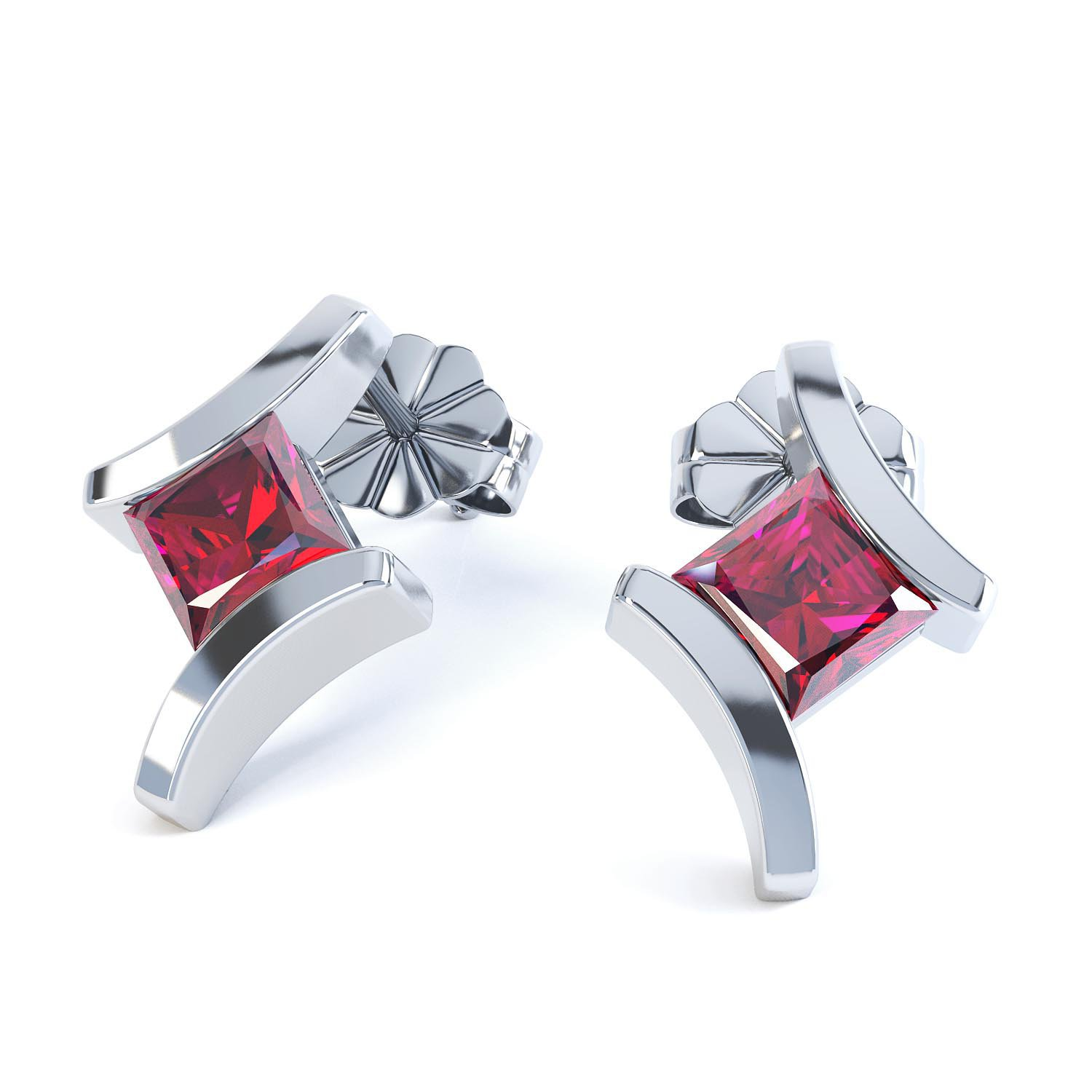 Combinations Garnet Square Rhodium plated Silver Earrings
