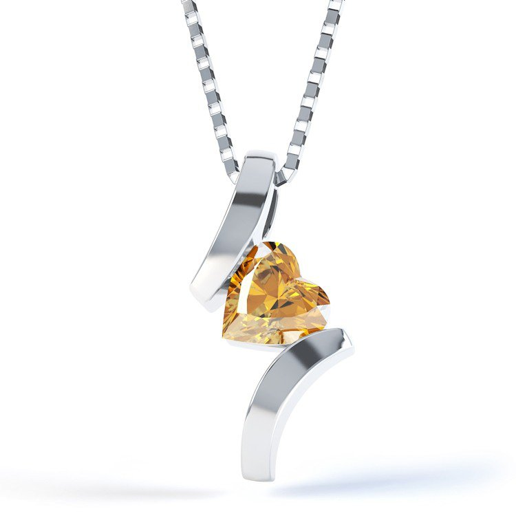 Combinations Citrine Heart Silver Pendant
