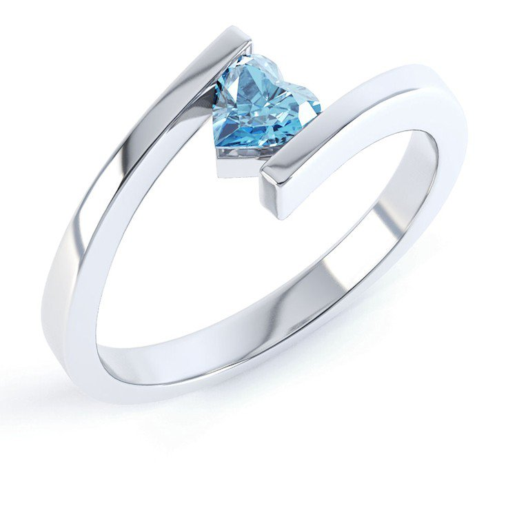 Combinations Blue Topaz Heart Stacking Silver Ring