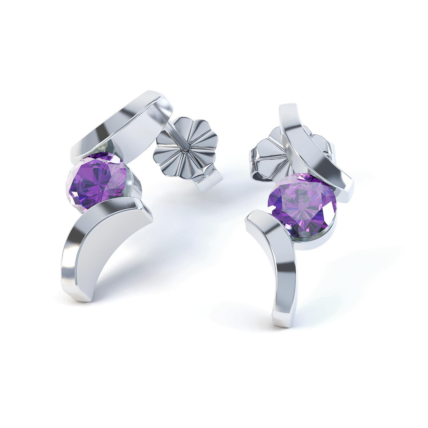 Combinations Amethyst Round Rhodium plated Silver Earrings