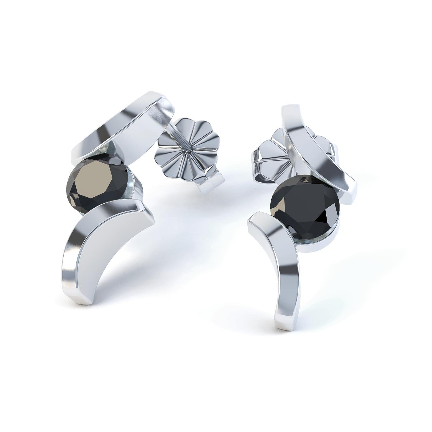 Combinations Onyx Round Rhodium plated Silver Earrings