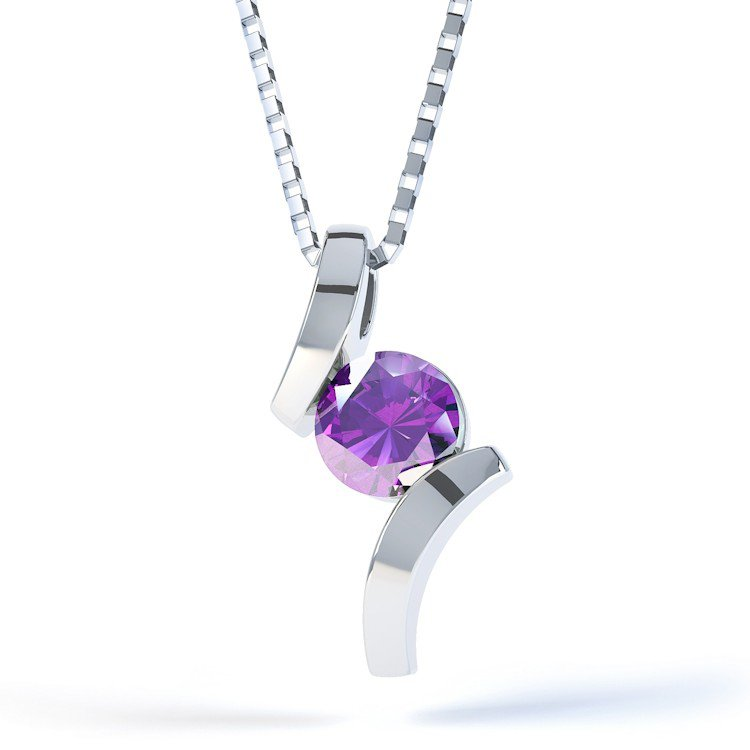 Combinations Amethyst Round Silver Pendant