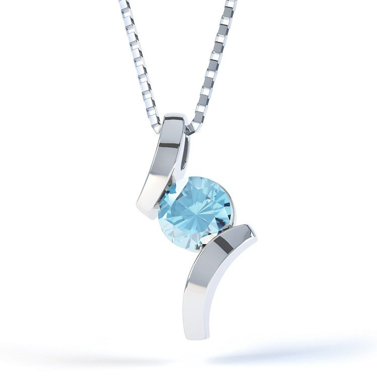 Combinations Blue Topaz Round Silver Pendant