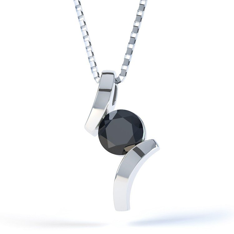 Combinations Onyx Round Silver Pendant