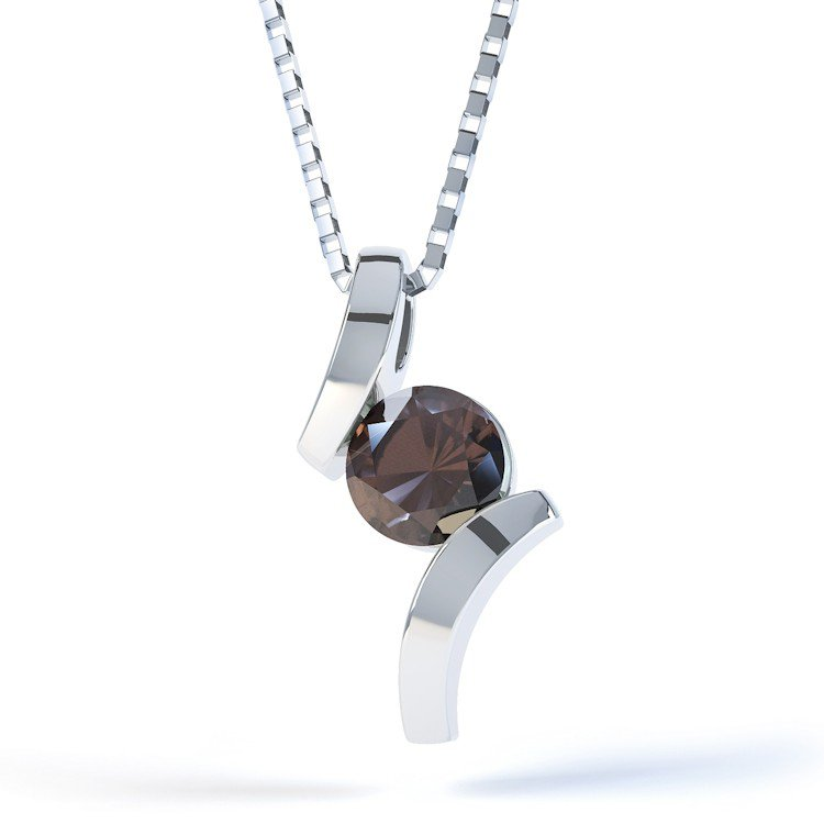 Combinations Smokey Quartz Round Silver Pendant