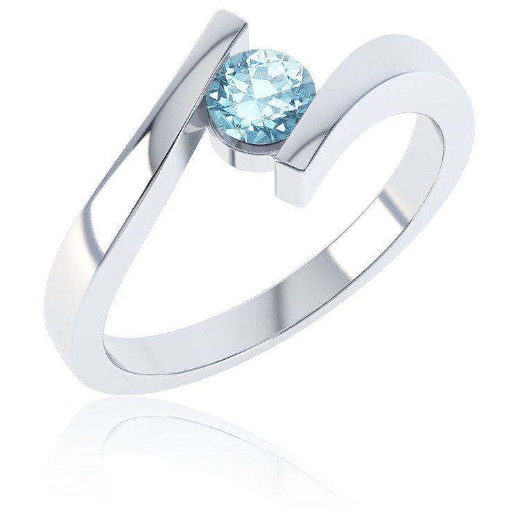 Combinations Blue Topaz Round Stacking Silver Ring