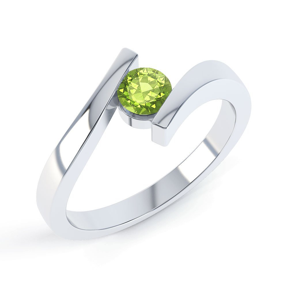 Combinations Peridot Round Stacking Silver Ring