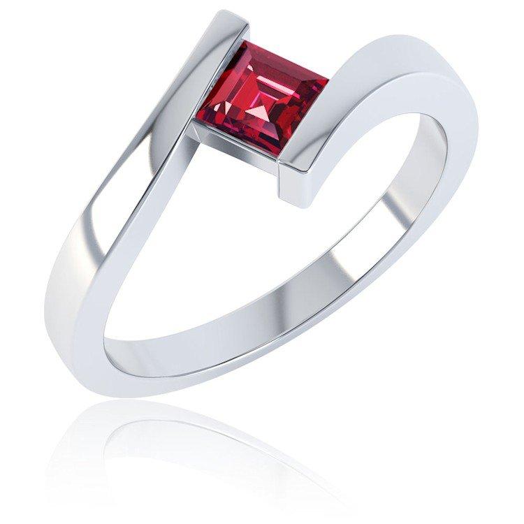 Combinations Garnet Square Stacking Silver Ring
