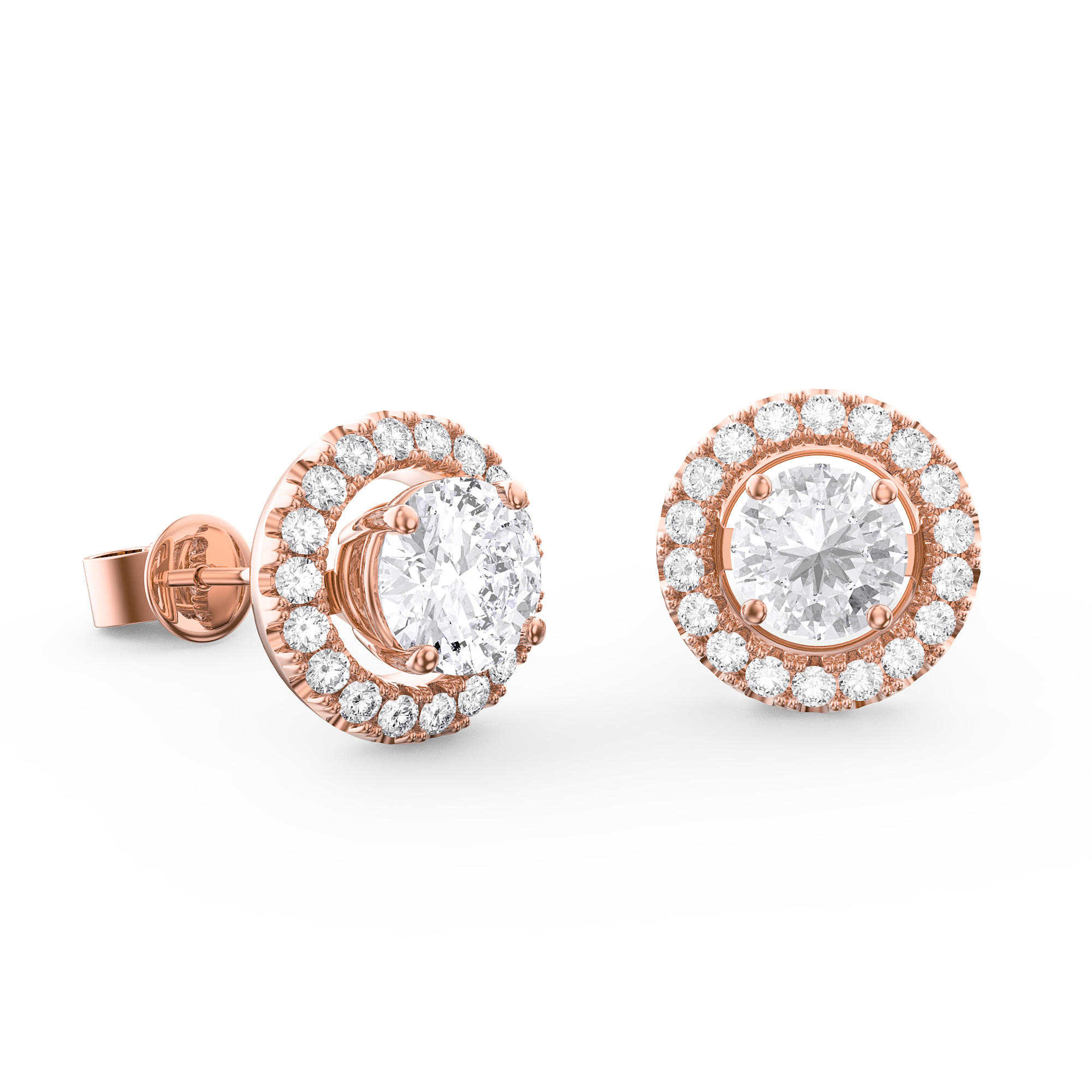 gold earrings diamond halo white round borsheims