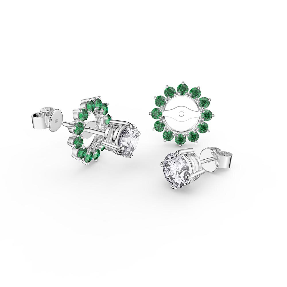 Fusion White Sapphire Platinum plated Silver Stud Earrings Emerald Halo Jacket Set