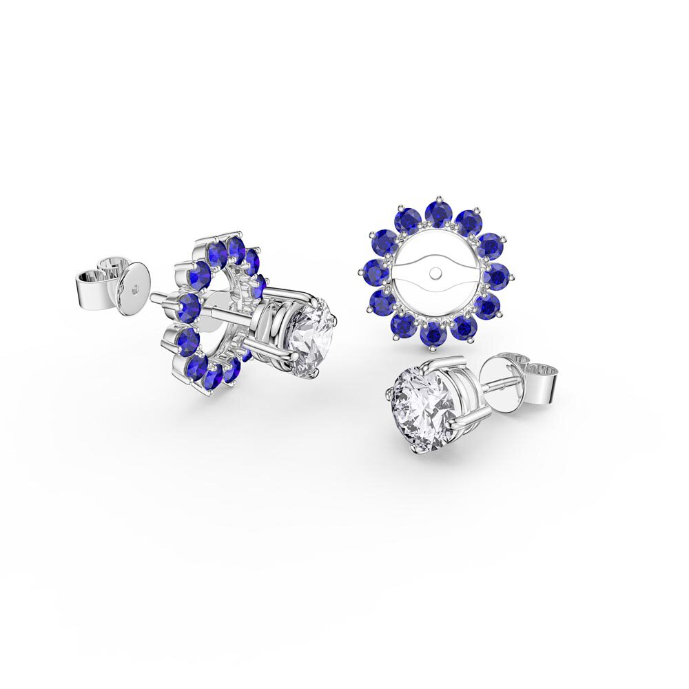 Fusion Moissanite 18K White Gold Stud Earrings Sapphire Halo Jacket Set