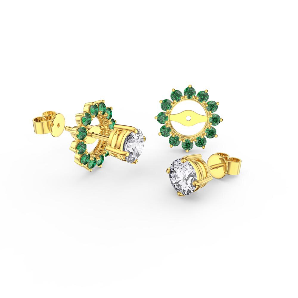 Fusion White Sapphire 10K Yellow Gold Stud Earrings Emerald Halo Jacket Set