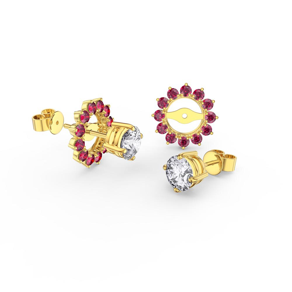 Fusion White Sapphire 18K Gold Vermeil Stud Earrings Ruby Halo Jacket Set