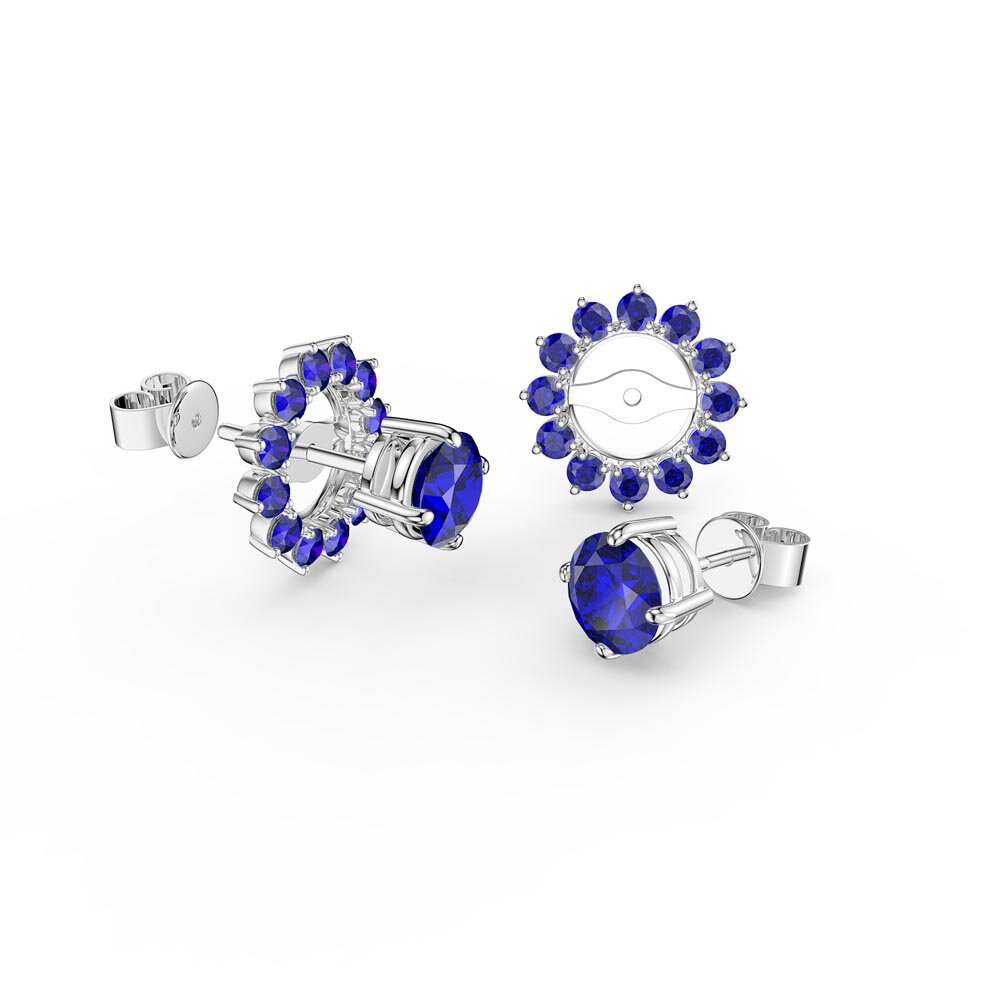 Fusion Sapphire 10K White Gold Stud Gemburst Earrings Halo Jacket Set